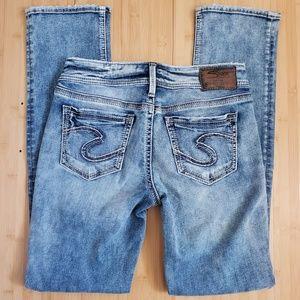 Silver Jeans Suki Mid Rise Straight Leg W 28 L 31